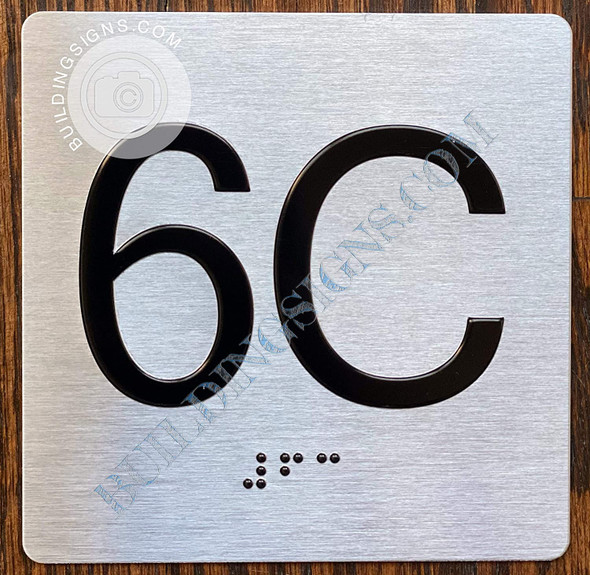 Apartment Number 6C Signage with Braille and Raised Number