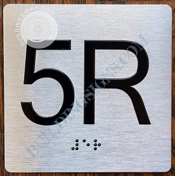 Sign Apartment Number 5R  with Braille and Raised Number