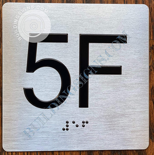 Sign Apartment Number 5F  with Braille and Raised Number