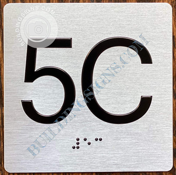 Apartment Number 5C Signage with Braille and Raised Number