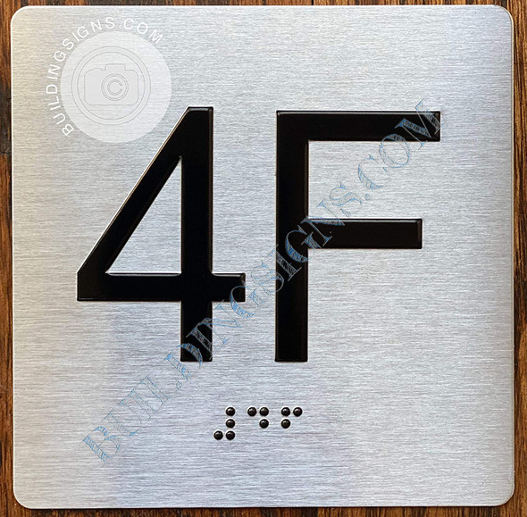 Apartment Number 4F Signage with Braille and Raised Number