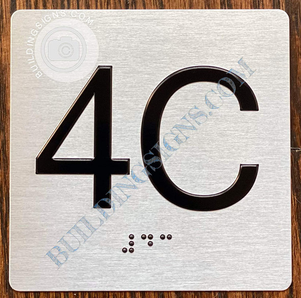 Apartment Number 4C Signage with Braille and Raised Number