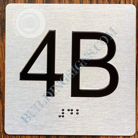 Apartment Number 4B Signage with Braille and Raised Number