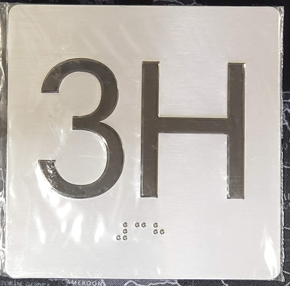 Apartment Number 3H Signage with Braille and Raised Number
