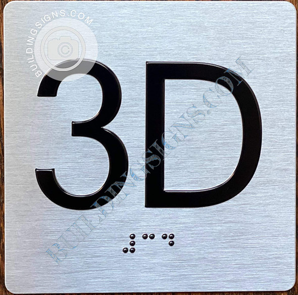 Apartment Number 3D Signage with Braille and Raised Number