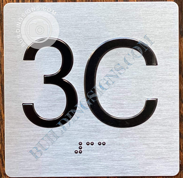 Apartment Number 3C Signage with Braille and Raised Number