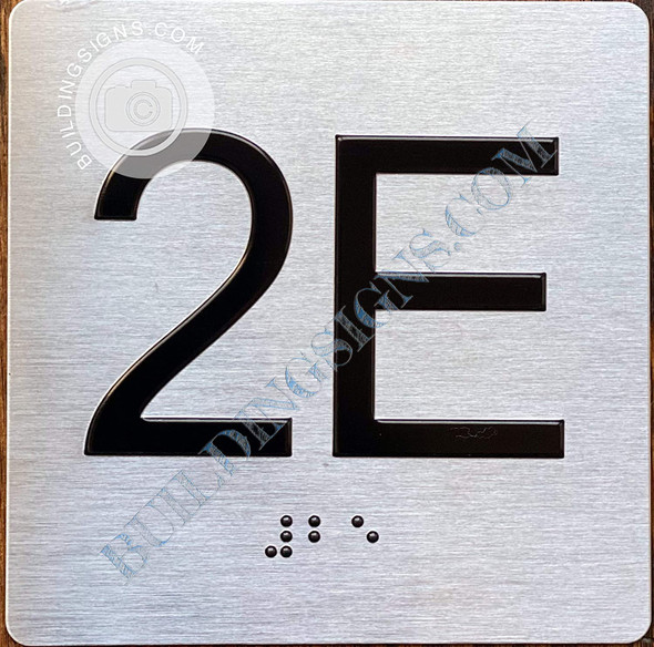 Apartment Number 2E Signage with Braille and Raised Number