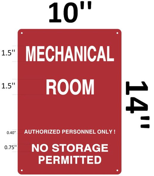 MECHANICAL ROOM SIGN Red