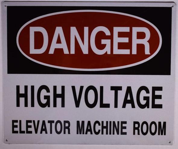 DANGER HIGH VOLTAGE ELEVATOR MACHINE ROOM SIGNAGE