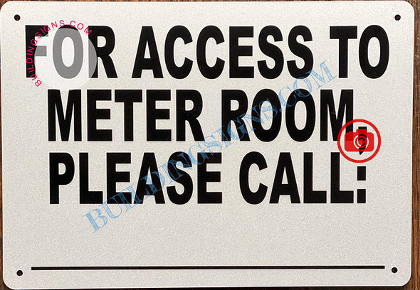 For Access to Meter Room Please Call_ Signage