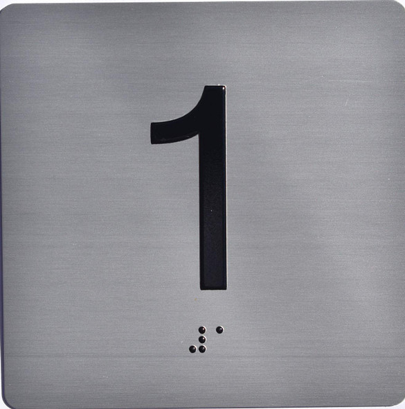 Apartment Number 1 Sign with Braille and Raised Number