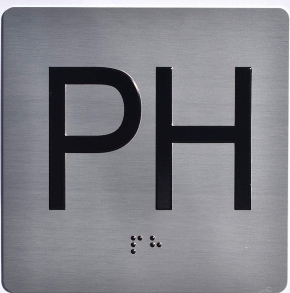 Apartment Number PH Sign with Braille and Raised Number