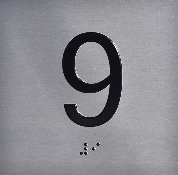 Apartment Number 9 Sign with Braille and Raised Number