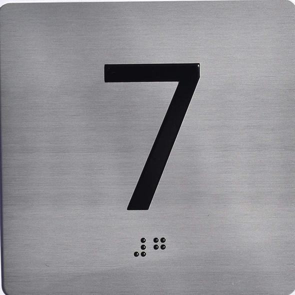 Apartment Number 7 Sign with Braille and Raised Number