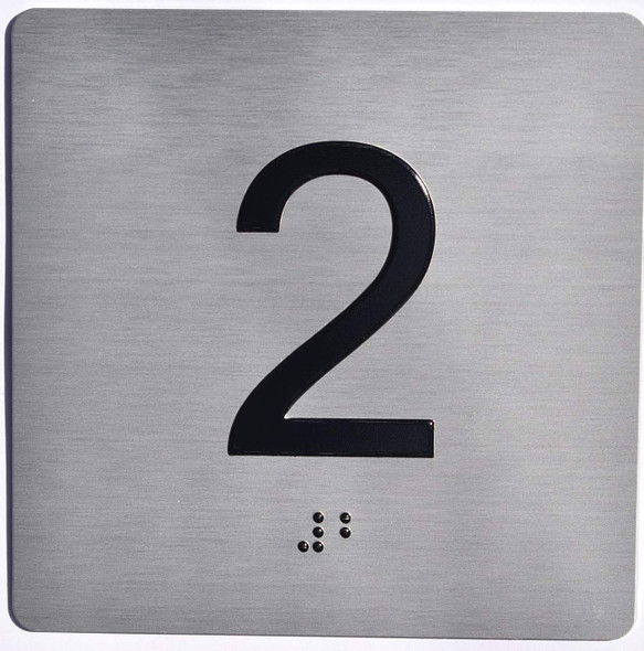 Apartment Number 2 Sign with Braille and Raised Number