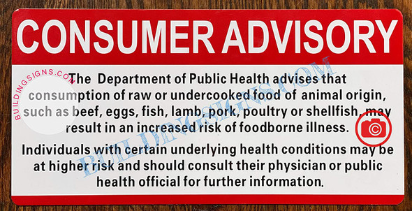 Consumer Advisory Consuming Raw Or Undercooked Safety Signage