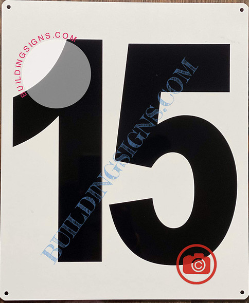 Large Number 15 Sign -Metal Sign - Parking LOT Number Sign