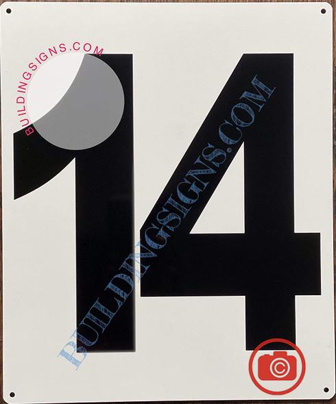 Large Number 14 Signage -Metal Signage - Parking LOT Number Signage