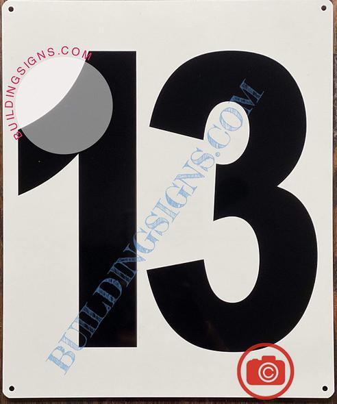 Large Number 13 Signage -Metal Signage - Parking LOT Number Signage