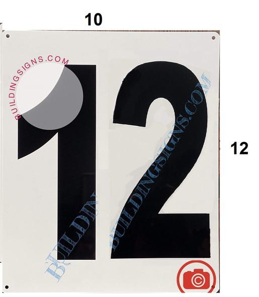 Signage Large Number 12 Sign -Metal