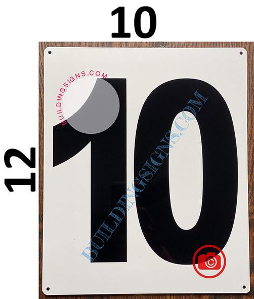 Large Number 10 Signage -Metal Signage - Parking LOT Number Signage