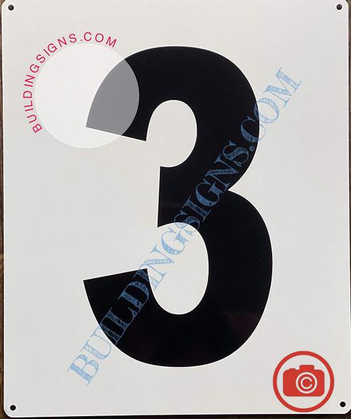 Large Number 3 Sign -Metal Sign - Parking LOT Number Sign