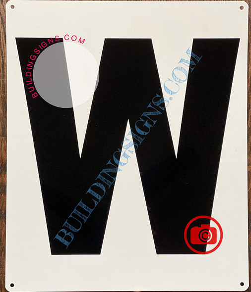 Large Letter W -Metal Sign - Parking LOT Sign