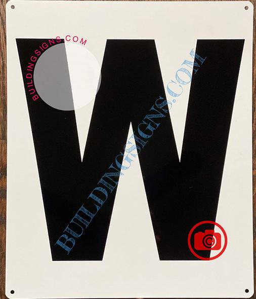 Large Letter W -Metal Sign - Parking LOT Sign