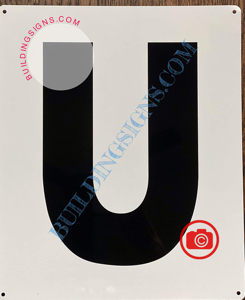 Large Letter U -Metal Sign - Parking LOT Sign