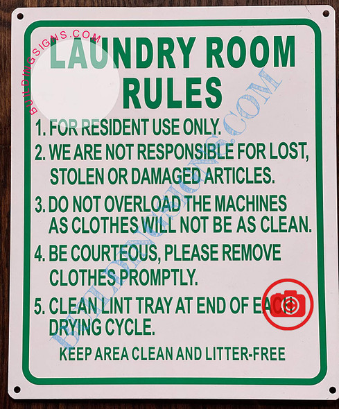 LAUNDRY ROOM RULES Signage