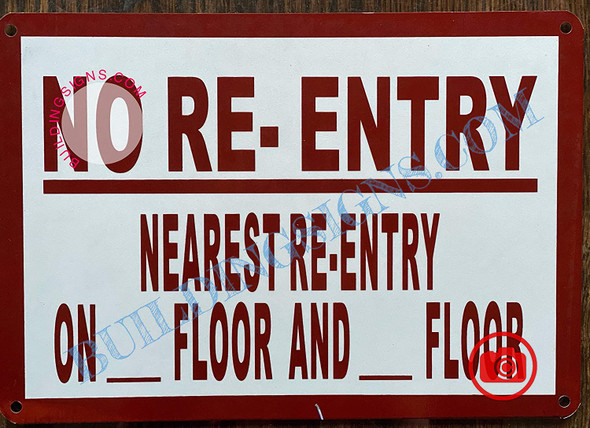 No Re-Entry on This Floor Signage-Door Signage