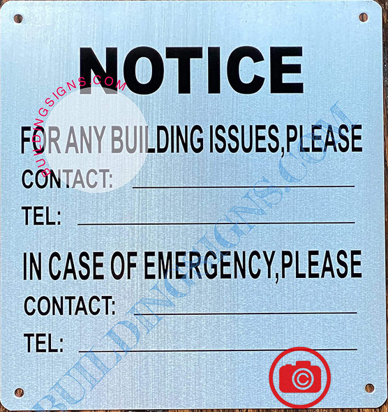 Building Contact Information Signage