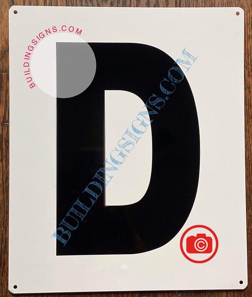 Large Letter D -Metal Sign - Parking LOT Sign