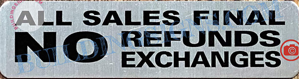 All Sale Final NO Refund NO Exchange Sign