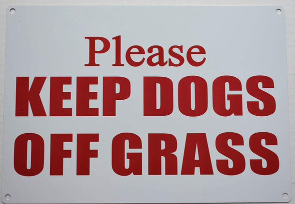 Please Keep Dogs Off Grass Signage
