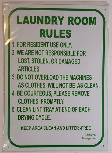 LAUNDRY ROOM RULES SIGN  WHITE ALUMINUM