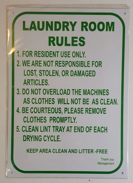 LAUNDRY ROOM HPD SIGN