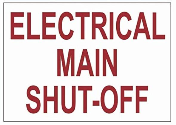 Electrical Main Shut-Off Label Singange