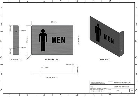 Men Restroom Projection - Men Restroom 3D  Brush Singange