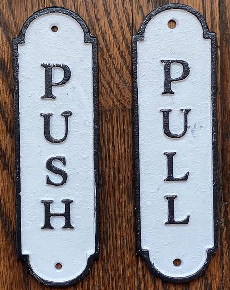 Set Push Pull Door Sign - Push Pull Antique Look
