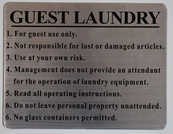 SIGN GUEST LAUNDRY  - BRUSHED ALUMINUM