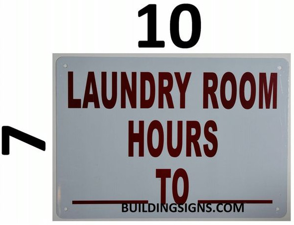 LAUNDRY ROOM BUSINESS HOURS SIGNAGE