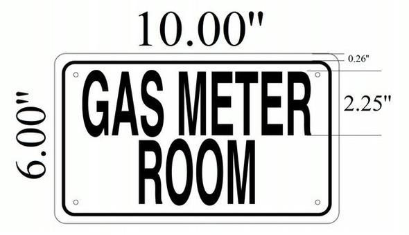 GAS METER ROOM SIGNAGE- WHITE ALUMINUM