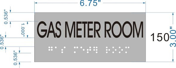 GAS METER ROOM Sign -Tactile Signs    Braille sign