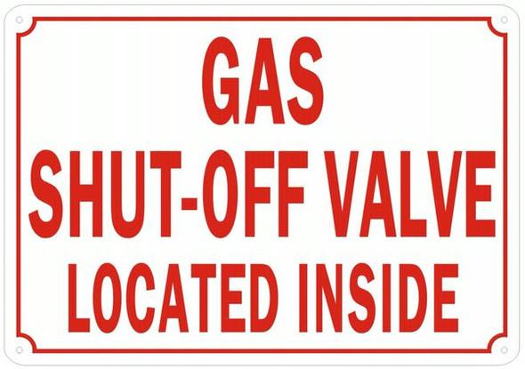 GAS SHUT-OFF Valve Sign White