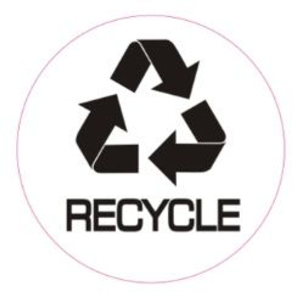 RECYCLE STICKER -SIGN (STICKER, CIRCLE) (WHITE)