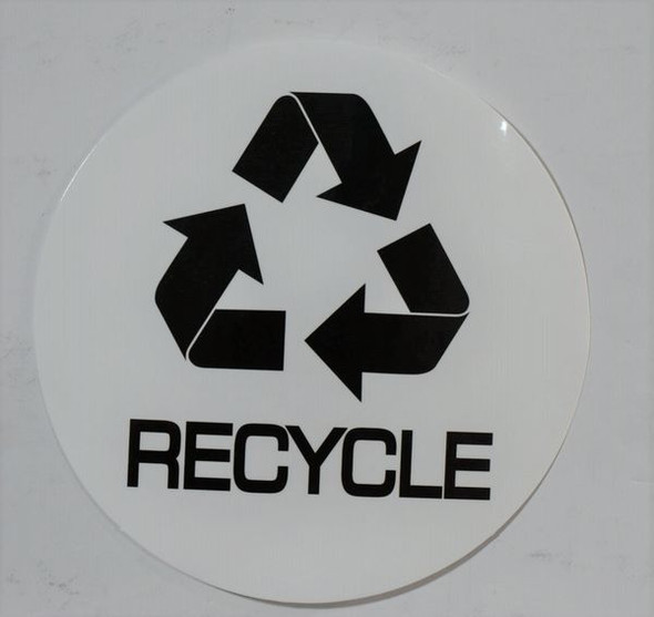 RECYCLE STICKER -SIGNAGE (STICKER, CIRCLE) (WHITE)