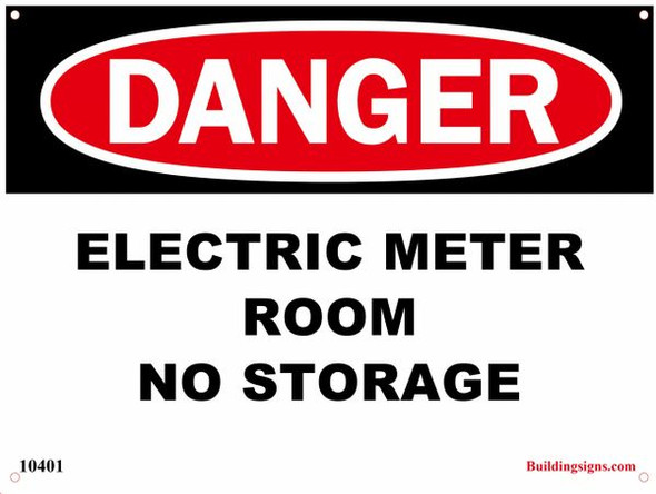 Danger Electric Meter Room - No Storage Sign(ALUMINUM SIGNS)-El blanco Line