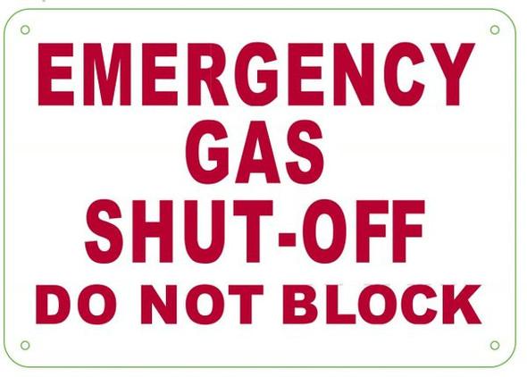 EMERGENCY GAS SHUT Sign