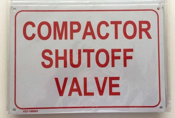 COMPACTOR SHUT-OFF VALVE SIGN